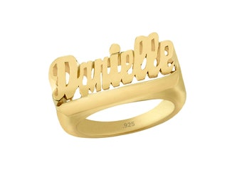 Name Ring - 24K Gold Plated Sterling Silver Ring - Personalized Name Ring - Custom Name Ring Name of Your Choice Size 4 thru 12 Made in USA