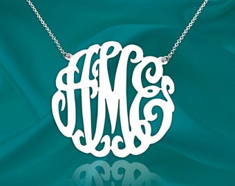 Monogram Necklace - 1.75 inch Sterling Silver Handcrafted Designer - Personalized Initial Necklace - Custom Monogram Necklace - Made in USA