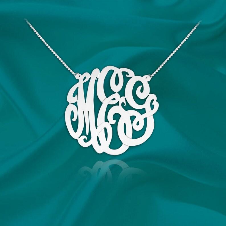 Monogram Necklace  1 inch monogram necklace sterling silver  image 0