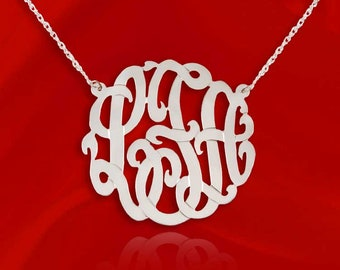 14K White Gold Monogram Necklace - 1 inch Initial Monogram   - Handcrafted Designer - Initial Necklace 14K White Gold - Made in USA