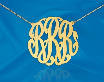 Monogram Necklace - 1.25 inch Sterling Silver 24K Gold Plated - Handcrafted Designer - Personalized - Custom Initial Necklace - Made in USA