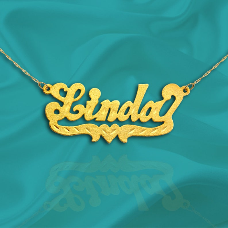 Name Necklace  Personalized Name Plate Necklace  24K Gold image 0