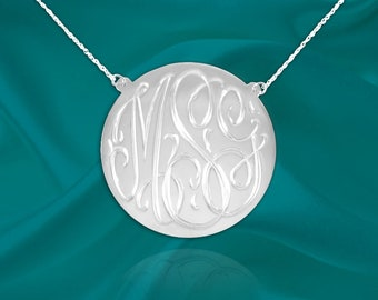 Hand Engraved Personalized Monogram Disc Necklace - Custom Monogram Disc Necklace - Initial Disc Gifts for her - Made in USA