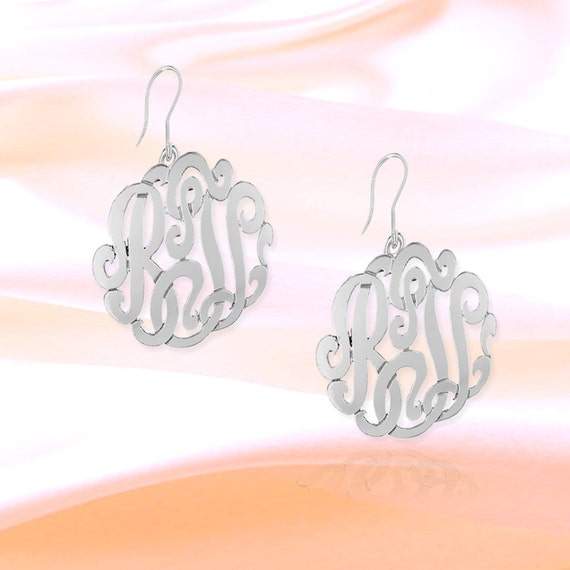 e6a59b512 Monogram Earrings .5 inch Sterling Silver Handcrafted   Etsy