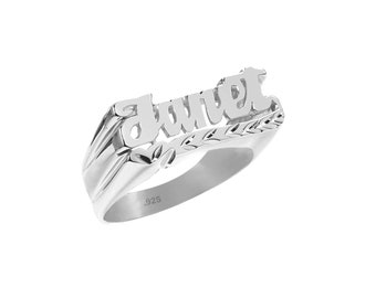 Name Ring -  Sterling Silver Personalized Name Ring  with Name of Your Choice Size 4 thru 12 - Made in USA