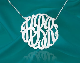 Monogram Necklace - 1.25 inch Sterling Silver - Personalized Monogram - Handcrafted Designer - Initial Necklace - Gift for Mom - Made in USA
