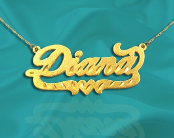 Name Necklace - Name Plate Necklace 24K Gold Plated Sterling Silver - Personalized Name Necklace - Gift for Mom - Gift For Her - Made in USA