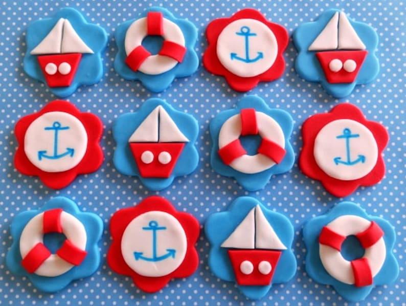 Nautical Cupcake topper// Red nautical cupcake topper//Nautical Theme  2 dozen