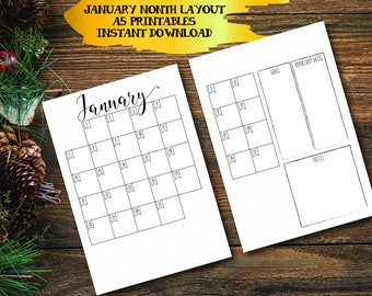 Bullet Journal Printables, 2018 January Month Layout, A5 Bullet Journal Pages, 2018 Montly Layout, Bullet Journal Kit, Calendar
