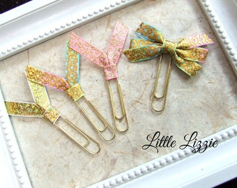 Planner Clip Set, Pastels and Gold, Bookmark, Teacher Gift
