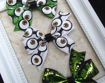 Halloween Bow Clips, Monster Eye Hair Bows, Slime Hair Bows, Toddler Bow Clips, Girl Bow Clips, Frankenstein