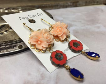 Bleu Peach and Coral Flower Dangle Earrings