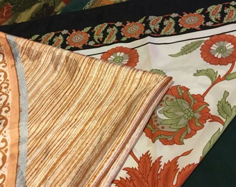 Vintage Lot of 4 Scarves - Fall Colors - Green/Brown - FREE USA SHIPPING