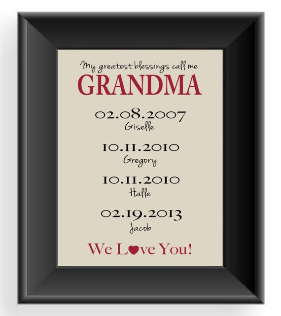 GRANDMA Gift - 8x10 Print - Up to 7 Names - Personalized Gift for ...