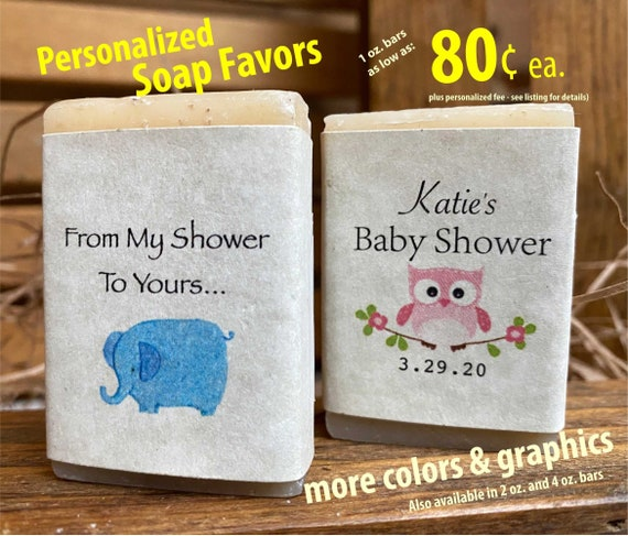 Elephant Birthday Personalized Thank You Gift Soap Favor Greenery Baby Shower Mini Bar Soap Baby Girl Elephant Baby Shower Favor Soap