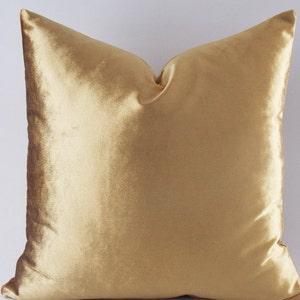 Beau Velvet Solid Gold Pillow Covers / Decorative Velvet Pillows / Throw Pillows  / 12,14,16,18,20,22,24,26,28,30 Inch