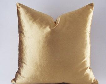 Velvet Solid Gold Pillow Covers / Decorative Velvet Pillows / Throw Pillows / 12,14,16,18,20,22,24,26,28,30 inch