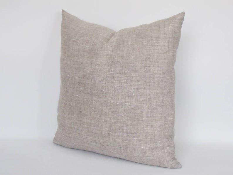 Natural Linen Pillow Cover  Rav Linen  Pure Linen  Linen Throw pillow  Decorative Pillow cover 12,14,16,18,20,22,24,26,28,30 inches