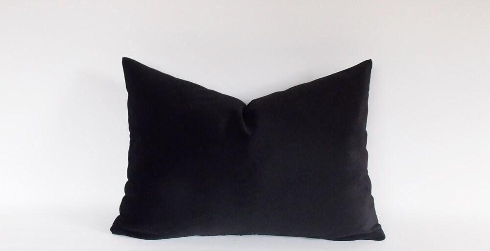 Velvet Cotton Black Lumbar Pillow Cover Solid Black Etsy
