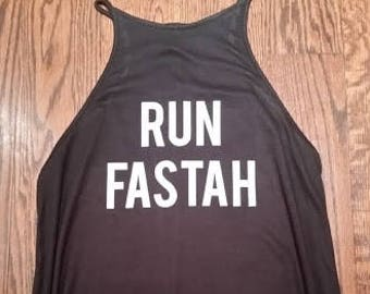 Run Fastah Running Tank Gym Tank Halter Style Tunic Tank