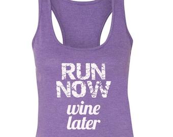 Run Now Wine Later Running Tank Marathon Tank Half Marathon Tank Funny Running Tank Wine Saying Tank Disney Wine and Dine