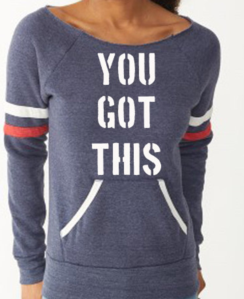 YOU GOT THIS Off the Shoulder Running Sweatshirt image 0