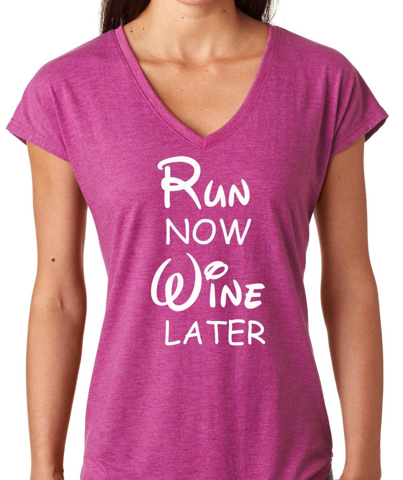Disney Run Now Wine Later Running Tee Disney Running Tee image 0