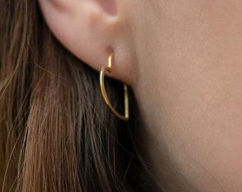 Heart Hoop earrings, Gold heart hoops, Sterling Silver heart earrings, Open heart earrings