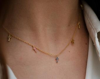 Cross necklace, tiny cross choker, Cz cross necklace, Cz cross charm, Charm necklace, Cross charm necklace