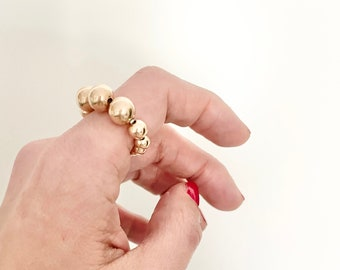 Gold bead ring, Gold filled ring, minimalist ring, Ball stacking ring, bead stacking rings, Statement ring, index ring