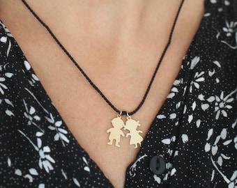 Children charm necklace, Mom jewelry, Boy Girl necklace, choose your charm, choose your string color, Boy charm, Girl charm, Children charms