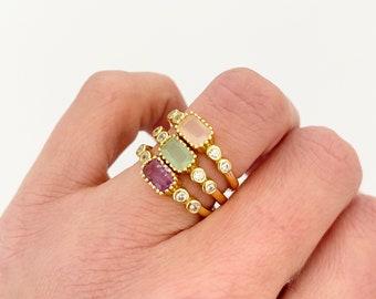 Gemstone ring, Rose quartz ring, Amethyst ring, Chalcedony ring, Dainty everyday ring, Special gift ring, Graduation ring, Valentines day