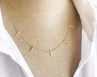 Bars necklace, Vertical bars necklace, Tiny bars necklace, Minimalist necklace, everyday necklace, Silver bar necklace, Gold bar necklace