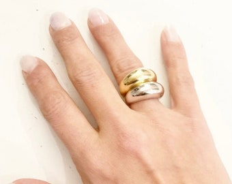 Statement ring,  dome ring, stacking dome ring, chunky gold ring, in 18K Gold plated over 925 sterling Silver or 925 sterling Silver
