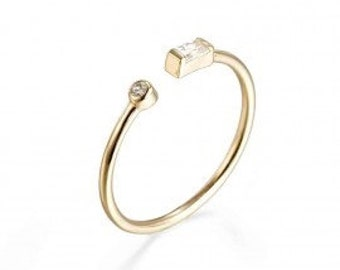 49c5354f3 Open CZ ring minimalist ring, baguette band, in 18K Gold plated over sterling  Silver or 925 sterling Silver .