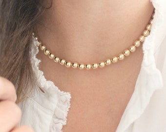 Gold bead necklace, Gold filled necklace, 6mm ball necklace, minimalist necklace, Ball stacking necklace, bead stacking necklace
