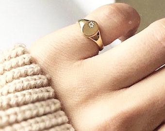 Star signet ring, Minimalist statement ring, in 18K Gold plated over 925 sterling Silver with a little CZ stone