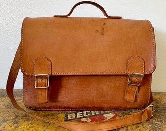 d3c531eb0 Vintage Leather Bag from Europe / Perfectly Distressed Shoulder Bag from  Poland