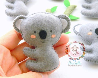 A set of Felt Koala Party Favor, Felt Koala, Baby Shower Favor, Pastel Koala, Felt Koala Ornaments, Felt Koala Birthday Favor, Gray Koala