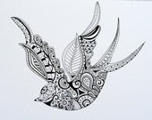 Items similar to Hand Drawn Henna Style Swallow on Etsy