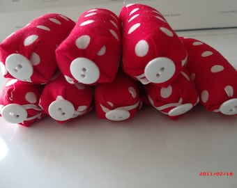 Spots Before Mine Eyes Red & White Polka Dots, RagTime Hair rollers/curlers set of 8