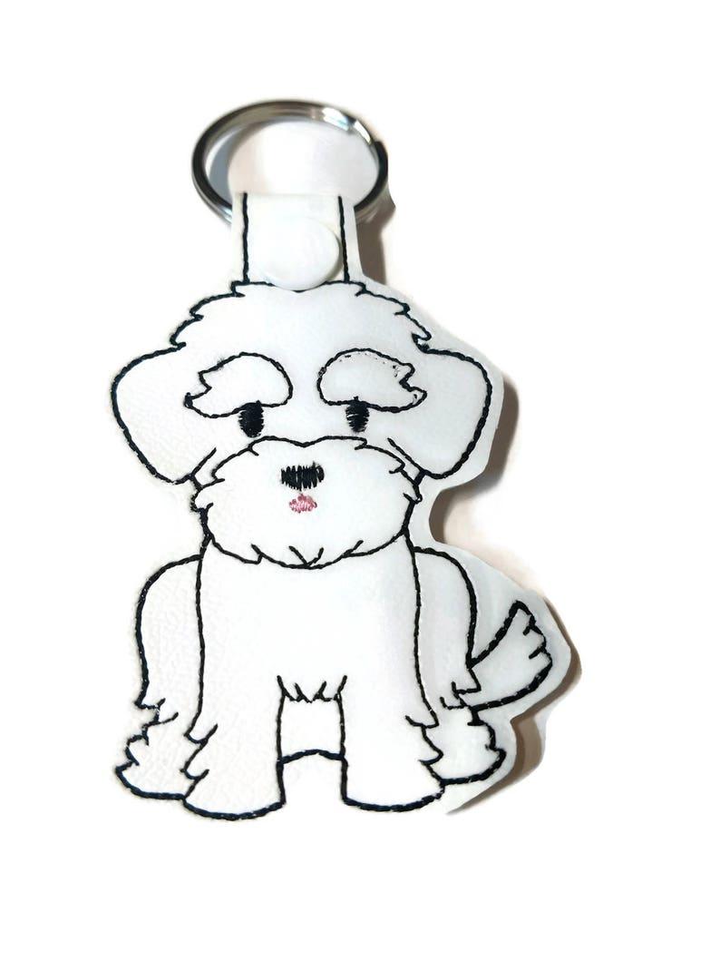 Maltese Key Fob Key Chain dog mom gift dog dad gift fur image 0