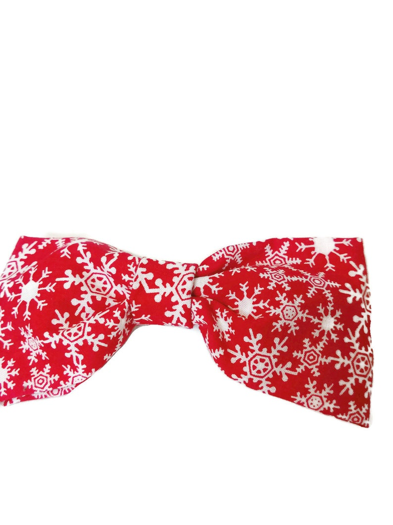 Red Snowflake Dog Bow Tie holiday dog tie bow tie wedding image 0
