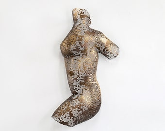 Abstract torso, Metal wall art sculpture, sexy nude metal torso, Interior design, Wall decor