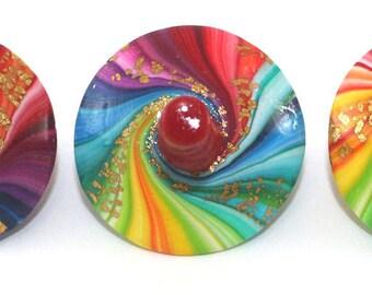 Unique spinning tops, christmas gift, christmas stocking stuffer, colorful dreidels, set of 3 polymer clay rainbow dreidels, Hanukkah gift