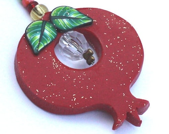 Lovely Red Flat Pomegranate Keychain w gold touch for prosperity and fertility, handmade from Polymer clay
