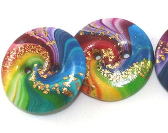 4 unique cosmic swirl sewing buttons, handmade rainbow spiral polymer clay craft buttons w gold touch, jewelry making craft supplies