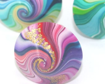 3 unique electric pink purple turquoise swirl spinning top dreidel w gold touch, polymer clay Hanukkah gift, teetotum Christmas family game
