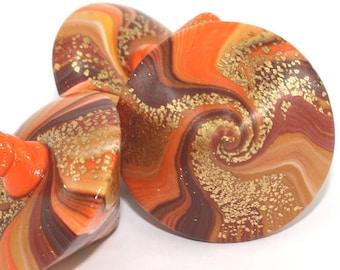 3 Elegant cosmic caramel orange chocolate swirl spinning top dreidel w gold touch polymer clay Hanukkah gift teetotum Christmas family game.