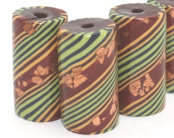 Tube beads earthy jewelry beads DIY bracelet gift stocking stuffers polymer clay beads craft supply round spiral Bohemian necklace 4 pcs